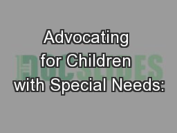 Advocating for Children with Special Needs: