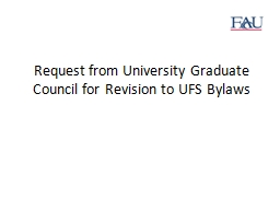 Request from University Graduate Council for Revision to UF
