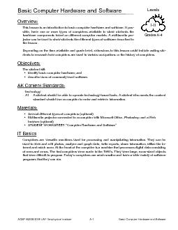 III Levels Grades K ACMP  UAF Geophysical Institute A Basic Computer Hardware and Software Overview This lesson is an introduction to basic computer hardware and software