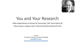 You and Your Research