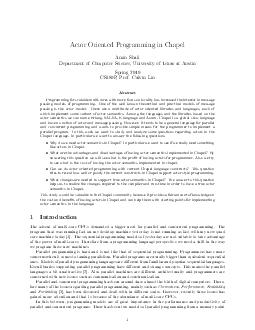 Actor Oriented Programming in Chapel Amin Shali Department of Computer Science University of Texas at Aust in Spring  CSP Prof