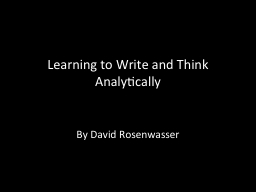 Learning to Write and Think Analytically