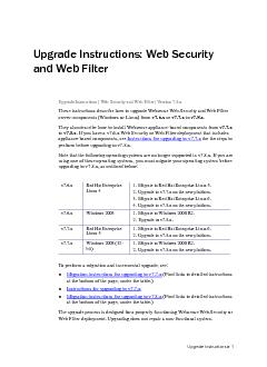 Upgrade Instructions Upgrade Instructions: Web Security and Web Filter