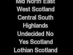 Referendum Vote ScotRegion  Holyrood Vote Age Gender Total Mid North East West Scotland Central South Highlands Undecided No Yes Scotland Lothian Scotland Glasgow and Fife Scotland Scotland and Isl PowerPoint PPT Presentation