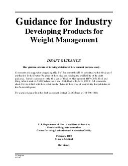 Guidance for Industry Developing Products for Weight Management DRAFT GUIDANCE This guidance document is being di stributed for comment purposes only PowerPoint PPT Presentation