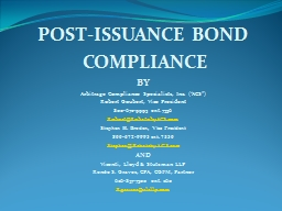 POST-ISSUANCE BOND