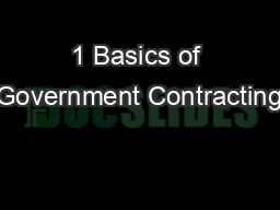 1 Basics of Government Contracting PowerPoint PPT Presentation