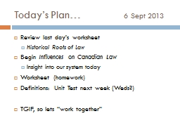 Today's Plan…