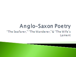 Anglo-Saxon Poetry