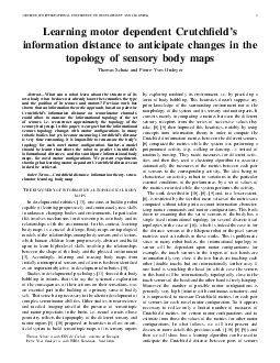 IEEE TH INTERNATIONAL CONFERENCE ON DEVELOPMENT AND LEARNING Learning motor dependent Crutchelds information distance to anticipate changes in the topology of sensory body maps Thomas Schatz and Pie