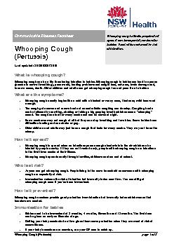 Whooping Cough (Pertussis)