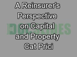 A Reinsurer's Perspective on Capital and Property Cat Prici PowerPoint PPT Presentation