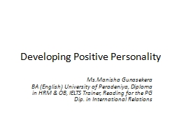 Developing Positive Personality