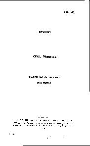 CAP. 148. CYPRUS CIVIL WRONGS 148 OF THE LAW 1959 EDITION PRINTED BY C