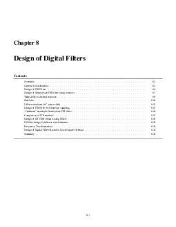 Chapter Design of Digital Filters Contents Ov ervie
