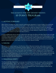 The ALLIANCE FOR NEW ZIONIST VISION's10PointProgram:1.MOVING F