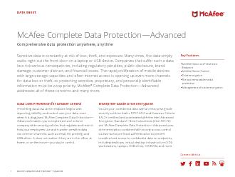 Key FeaturesMcAfee Data Loss Prevention EndpointMcAfee Device ControlD