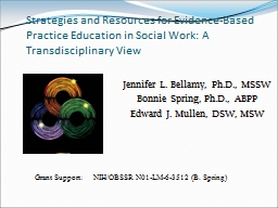 Strategies and Resources for Evidence-Based Practice Educat