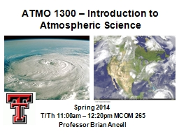 ATMO 1300 � Introduction to Atmospheric Science