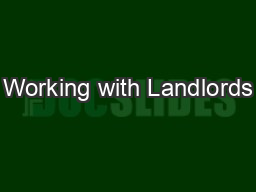 Working with Landlords