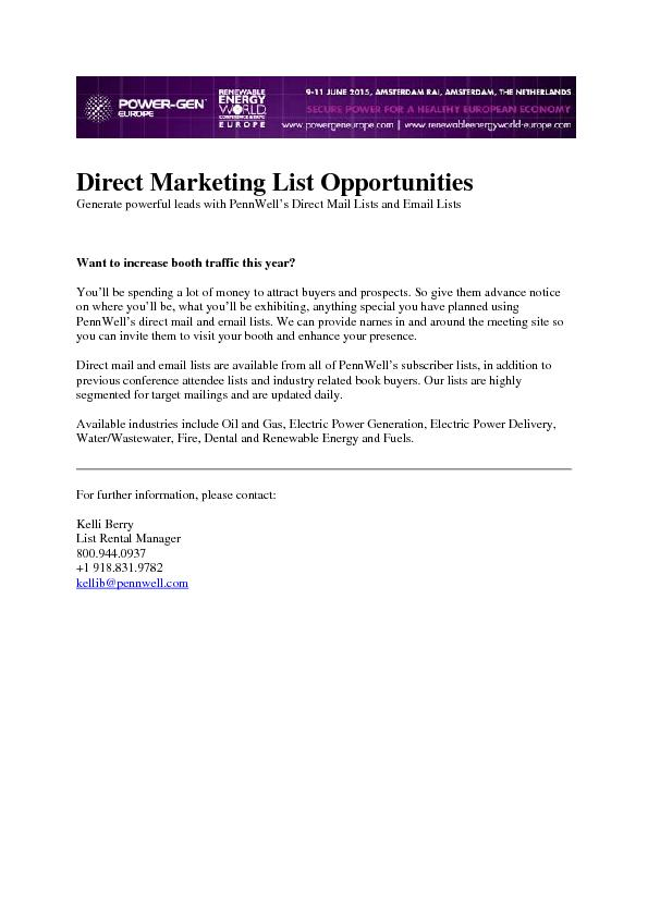 Direct Marketing List Opportunities Generate powerful leads with PennW