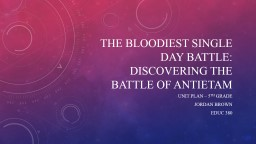 The bloodiest single day battle: discovering the battle of