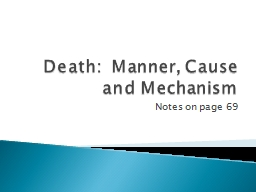 Death:  Manner, Cause and Mechanism