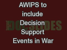 Configuring AWIPS to include Decision Support Events in War