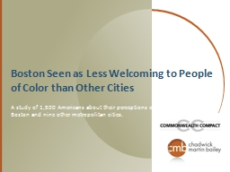 Boston Seen as Less Welcoming to People of Color than Other