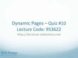 Dynamic Pages PowerPoint PPT Presentation