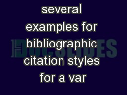 Below are several examples for bibliographic citation styles for a var