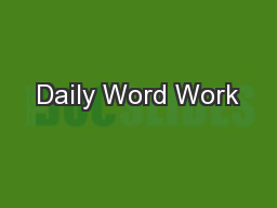 Daily Word Work PowerPoint PPT Presentation