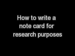 How to write a notecard