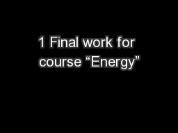 """1 Final work for course """"Energy"""""""