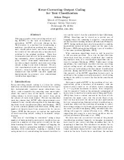 ErrorCorrecting Output Co ding for ext Classication Adam Berger Sc ho ol of Computer Science Carnegie Mellon Univ ersit Pittsburgh  abergercs PDF document - DocSlides