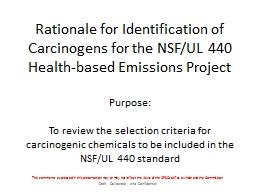 Rationale for Identification of Carcinogens for the NSF/UL