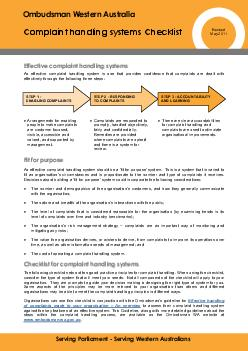Ombudsman Western Australia Complaint handling systems Checklist Serving Parliament  Serving Western Australians Revised May  An effective complaint handling system is one that pr ovides confidence t