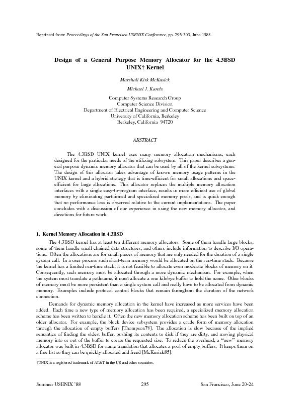 Proceedings of the San Francisco USENIX Conference,pp. 295-303, June 1
