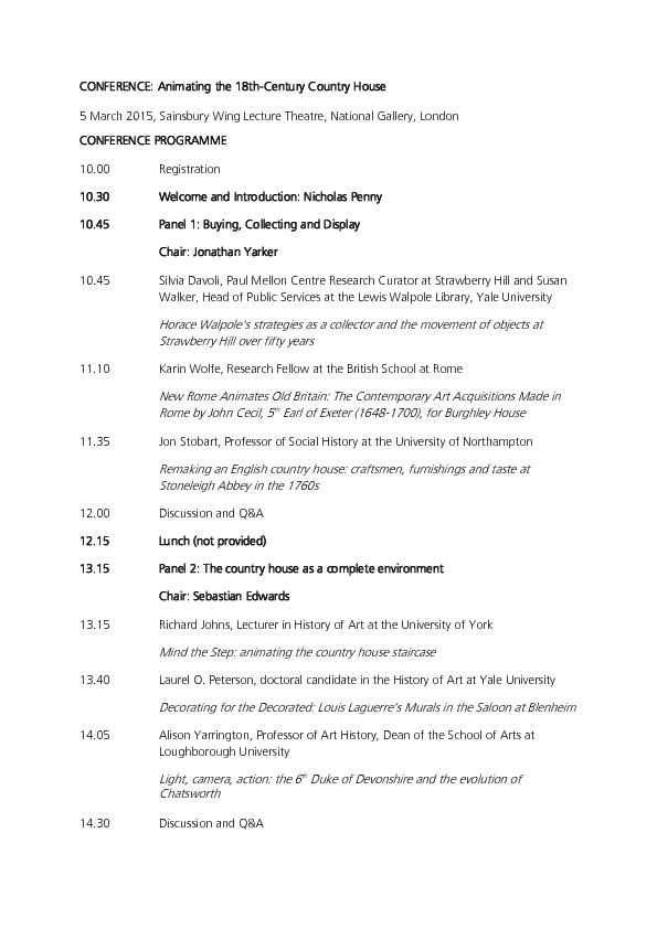 CONFERENCE: Animating the 18th