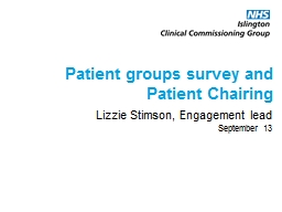 Patient groups survey and Patient Chairing PowerPoint PPT Presentation