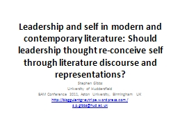 Leadership and self in modern and contemporary literature: