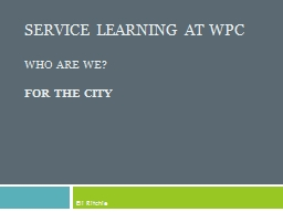 Service Learning At WPC