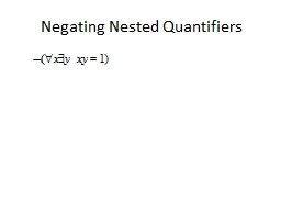 Negating Nested Quantifiers PowerPoint PPT Presentation