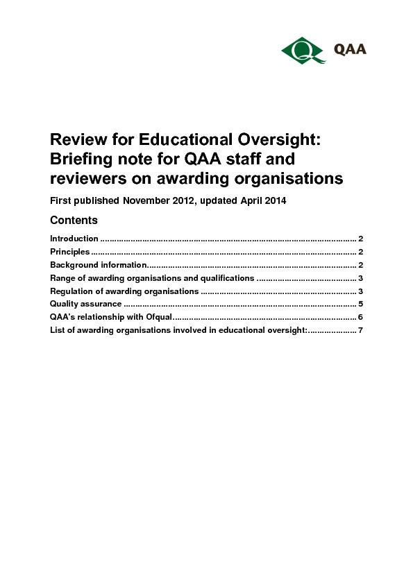 Review for Educational Oversight: