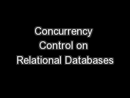 Concurrency Control on Relational Databases
