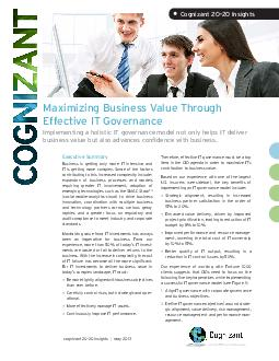 Maximizing Business Value Through Effective IT Governance Implementing a holisti