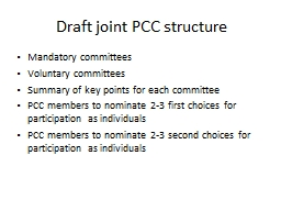 Draft joint PCC structure