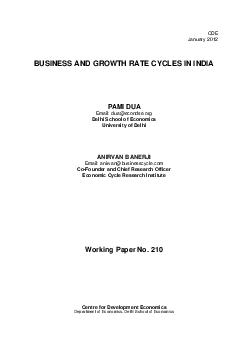 CDE January   BUSINESS AND GROWTH RATE CYCLES IN INDIA PAMI DUA Email  dua econdse