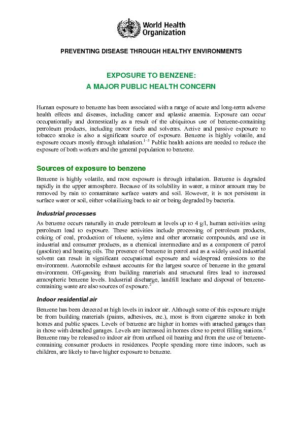 PREVENTING DISEASE THROUGH HEALTHY ENVIRONMENTS EXPOSURE TO BENZENE: A PowerPoint PPT Presentation