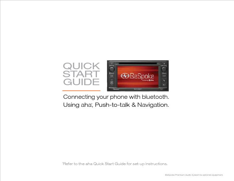 QUICK STARTGUIDEConnecting your phone with bluetooth.Using aha, Push-t